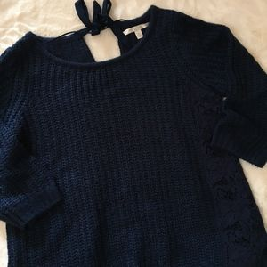 LC Lauren conrad Chunky Knit Lace Sweater